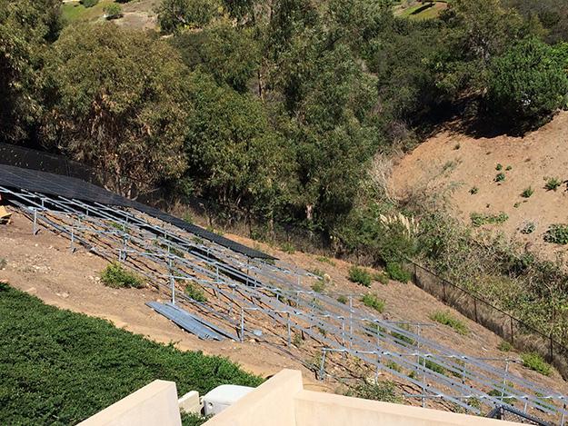 Framing for solar ground mount on hillside