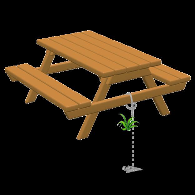 Arrowhead picnic table anchor