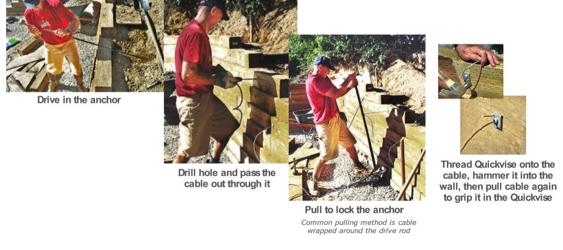 Retaining wall anchor installation