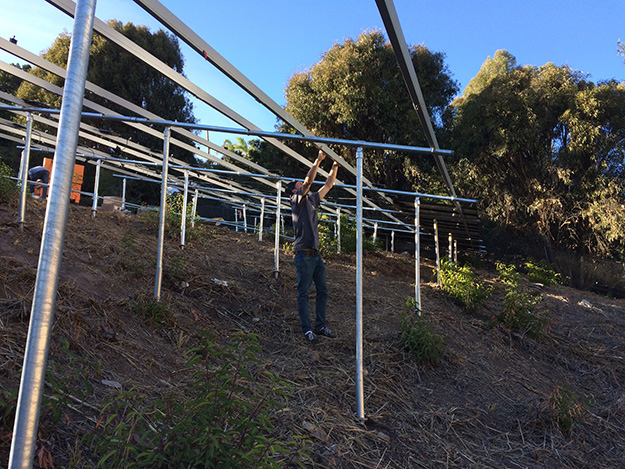Framing and anchoring for solar array ground mount