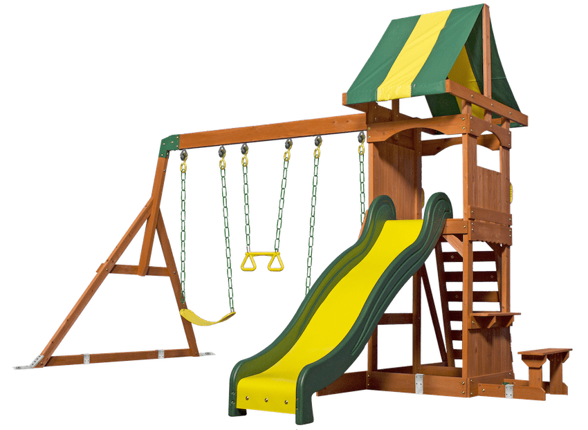 Swing set anchor installation with brackets shown