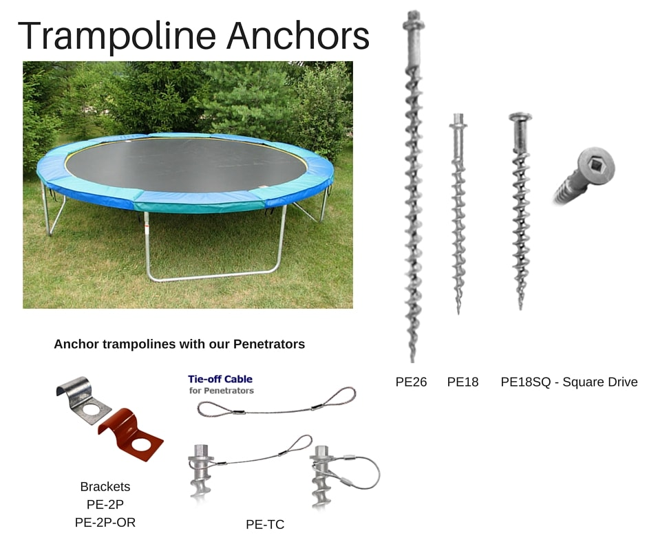 Anchors for trampolines that install easily