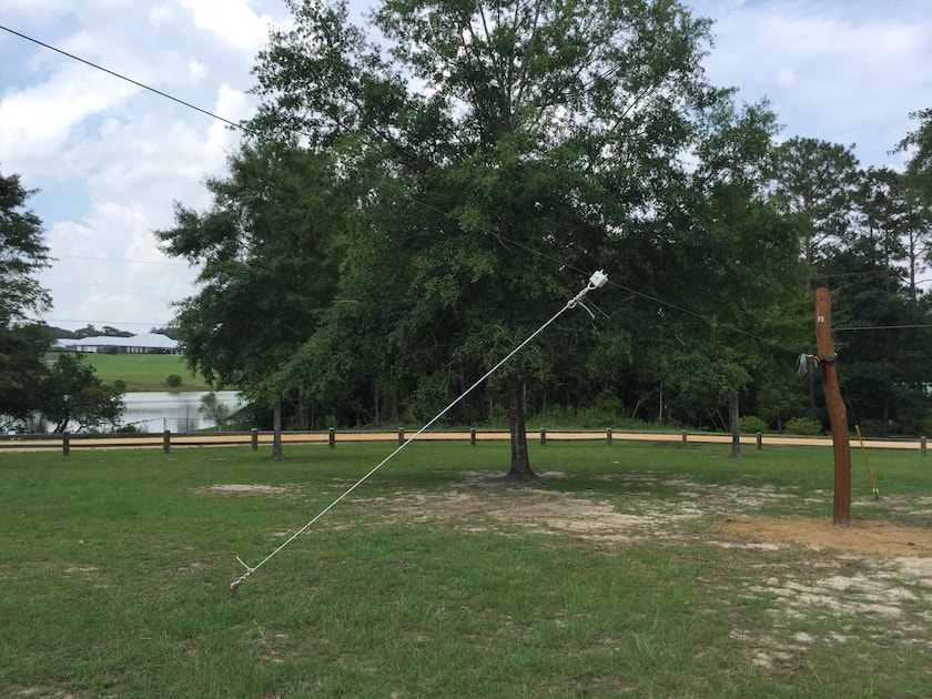 Zip line wire guying anchor