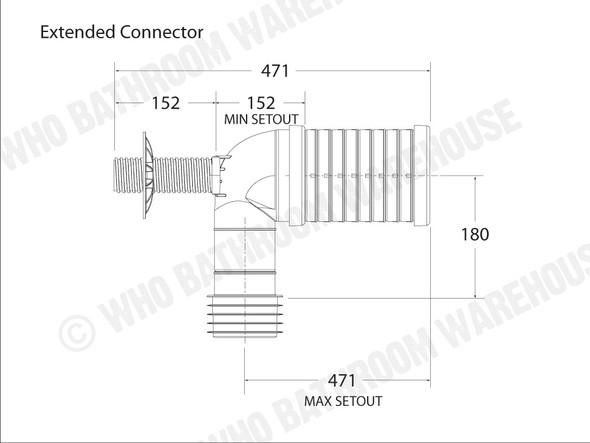 Pan Bend Extended Waste Plumbing (White) - 11950
