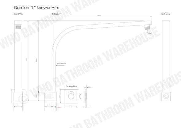 Damian L Shower Arm Tap (Polished Chrome) - 11990