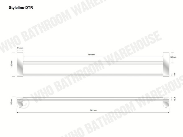 Styleline Double Towel Rail Bathroom Accessory (Polished Chrome) - 12010