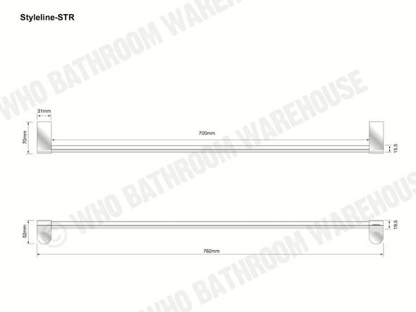 Styleline Single Towel Rail Bathroom Accessory (Polished Chrome) - 12011