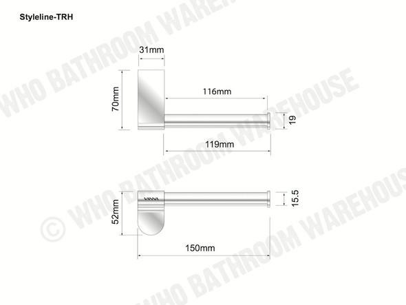 Styleline Toilet Roll Holder Bathroom Accessory (Polished Chrome) - 12012