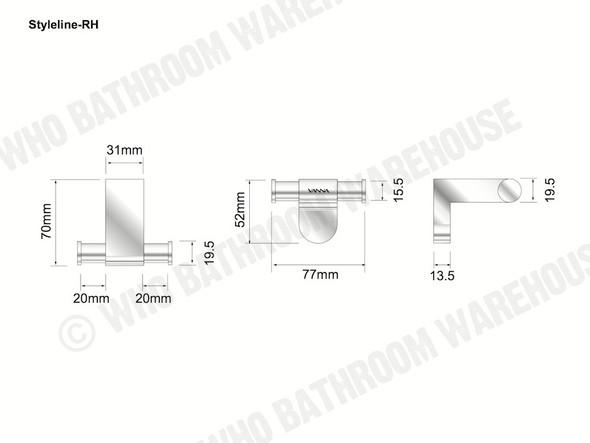 Styleline Robe Hook Bathroom Accessory (Polished Chrome) - 12014