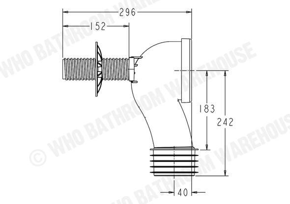Pan Bend Q-Bend Waste Plumbing (White) - 12044