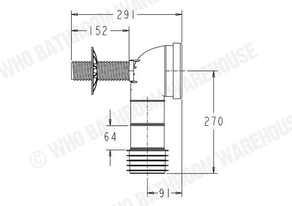 Pan Bend Standard Waste Plumbing (White) - 12045