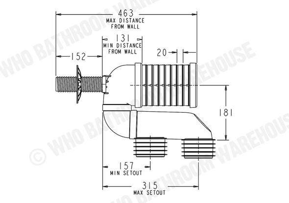 Pan Bend Universal Waste Plumbing (White) - 12046