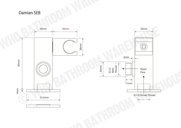 Damian SEB Shower Bracket Tap (Polished Chrome) - 12191