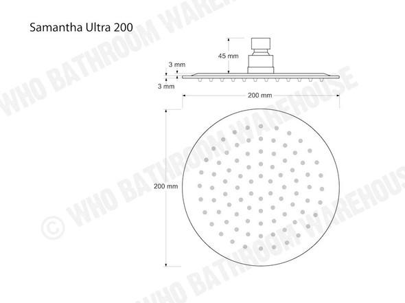 Samantha Ultra 200R Shower Head Tap (Polished Chrome) - 12345
