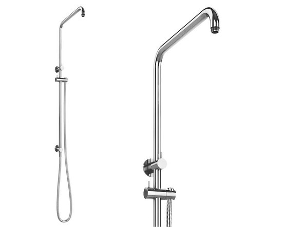 Chrome Plated Brass Sliding bar and fittings. Integrated inlet with water diverter. 1.5m certificated Ultra Flex hose. Hand shower Rain Shower and Tray sold separately.