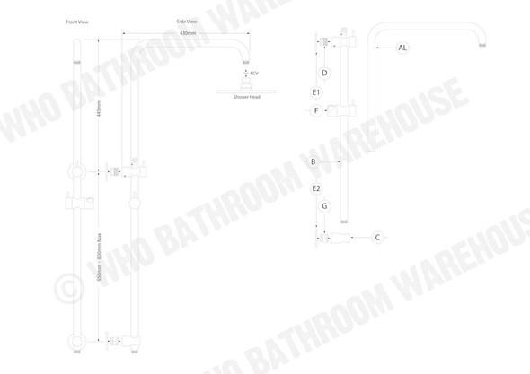 Samantha Combination 25 L Shower Rail Tap (Polished Chrome) - 12413