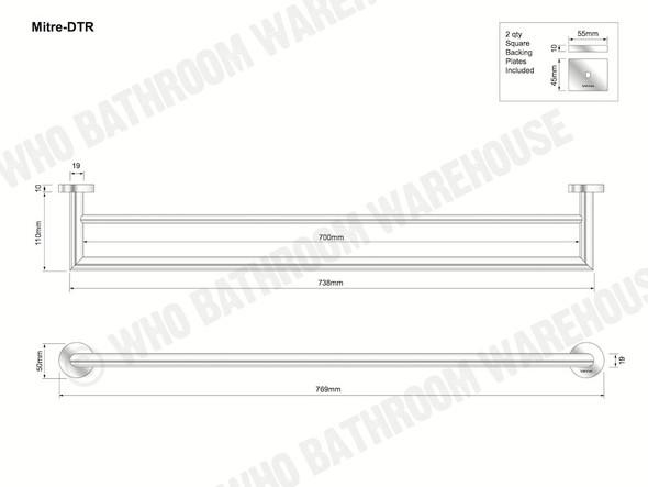 Mitre Double Towel Rail Bathroom Accessory (Polished Chrome) - 12421