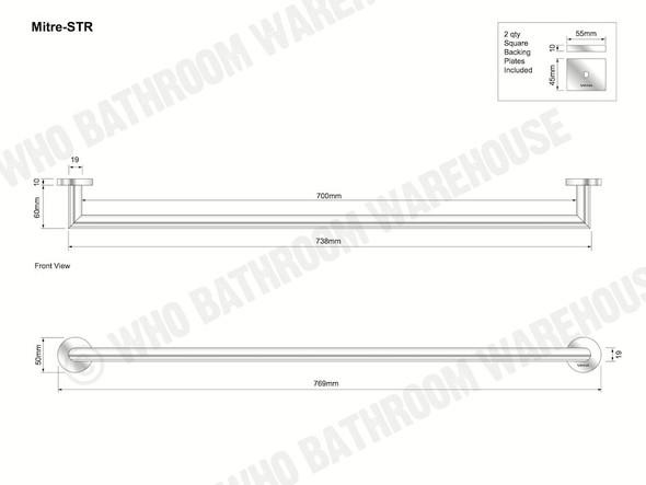 Mitre Single Towel Rail Bathroom Accessory (Polished Chrome) - 12422