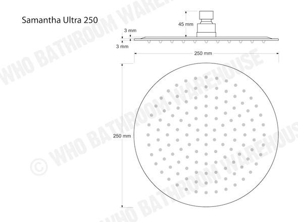 Samantha Ultra 250R Shower Head Tap (Polished Chrome) - 12450