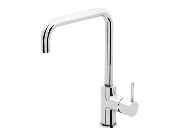 European design bathroom basin mixer tap - Highest quality ceramic disk operation - Single lever mixer controls both water temperature and flow - Manufactured from high quality solid brass with a highly polished chrome finish. Includes two flexible inlet hoses and mounting brackets.