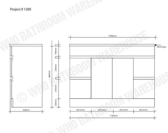 Project FP 1200 Free Standing Vanity (White Gloss) - 12494