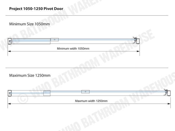 Project 1050-1250 Pivot DOOR Framed Shower Screen (Polished Chrome) - 12497