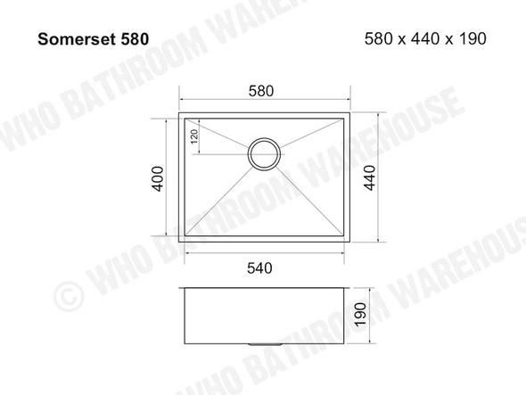 Somerset 580 Kitchen Sink/Trough (Brushed Stainless) - 12561