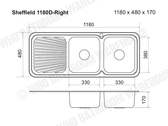 Sheffield 1180D-Right Kitchen Sink/Trough (Polished Stainless) - 12564