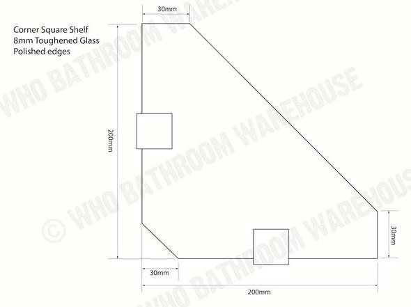 Glass Shelf 200mm SQUARE Bathroom Accessory - 12708