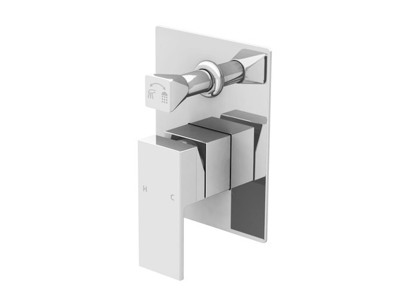 European design wall mixer diverter - Highest quality ceramic disk operation - Single lever mixer controls both water temperature and flow - Manufactured from high quality solid brass with a highly polished chrome finish.