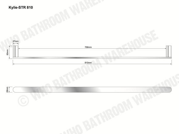 Kylie 810mm Single Towel Rail Bathroom Accessory (Polished Chrome) - 12759