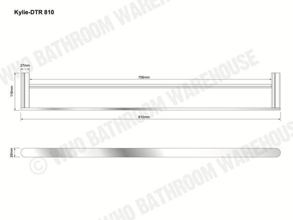 Kylie 810mm Double Towel Rail Bathroom Accessory (Polished Chrome) - 12760