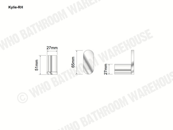 Kylie Robe Hook Bathroom Accessory (Polished Chrome) - 12761