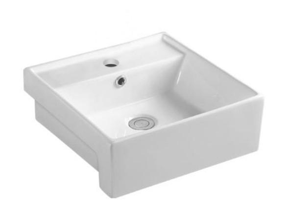 Vitreous china semi recessed basin