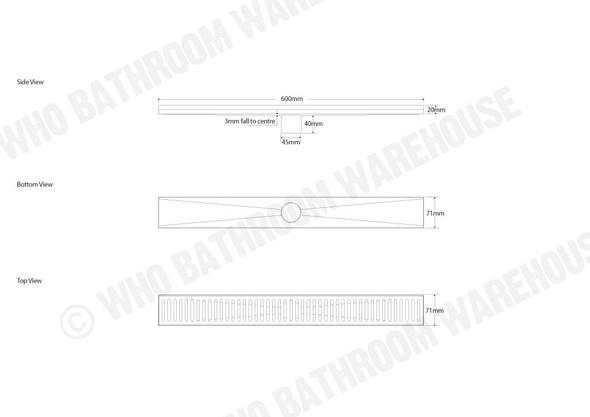 Murray 600mm Linear Waste Plumbing - 12813