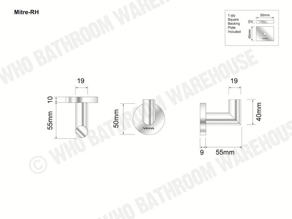 Mitre Robe Hook Bathroom Accessory (Polished Chrome) - 13906