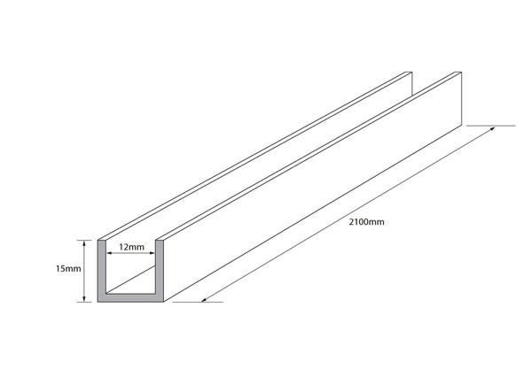 GP Aluminium Wall Channel Frameless Shower Screen - 13048