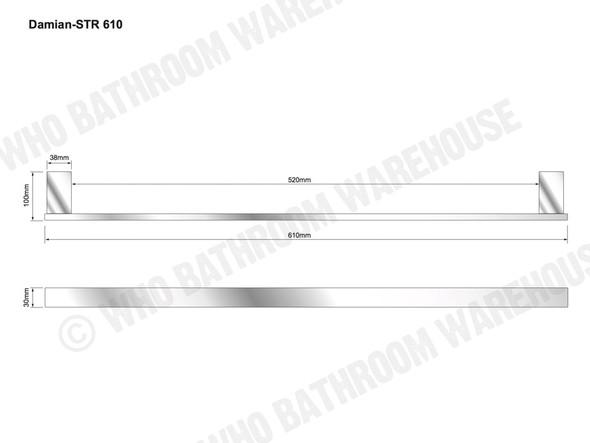 Damian 610mm Single Towel Rail Bathroom Accessory (Polished Stainless) - 13091