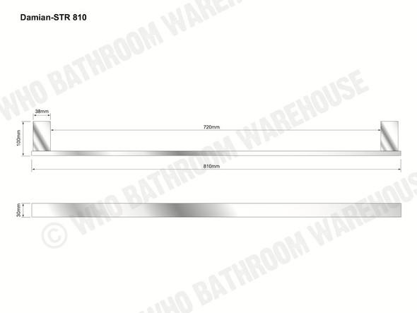Damian 810mm Single Towel Rail Bathroom Accessory (Black Matt) - 13093