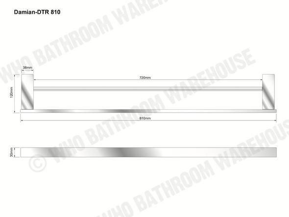 Damian 810mm Double Towel Rail Bathroom Accessory (Black Matt) - 13094