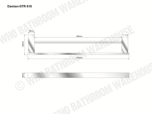 Damian 610mm Double Towel Rail Bathroom Accessory (Black Matt) - 13096