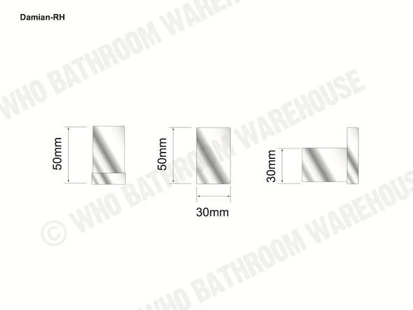 Damian Robe Hook Bathroom Accessory (Black Matt) - 13097