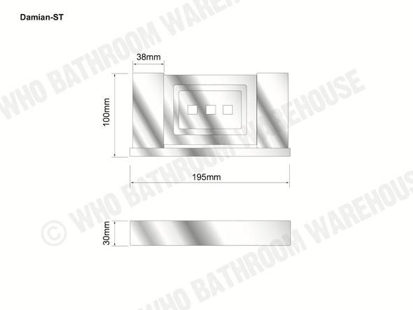 Damian Soap Tray Bathroom Accessory (Black Matt) - 13098
