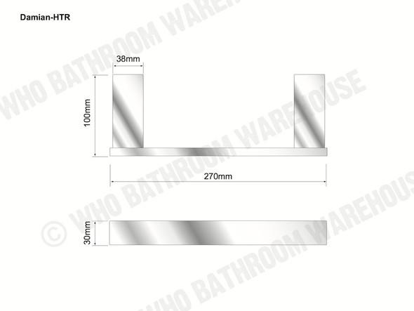 Damian Hand Towel Rail Bathroom Accessory (Black Matt) - 13100
