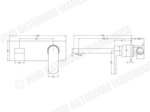 Ecco Combo Wall Basin Mixer Tap (Matt Black) - 13238