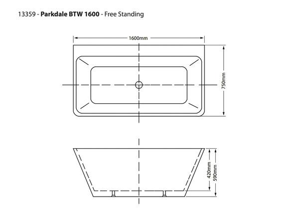 Parkdale XI BTW 1600mm Free Standing Bath (White) - 13359