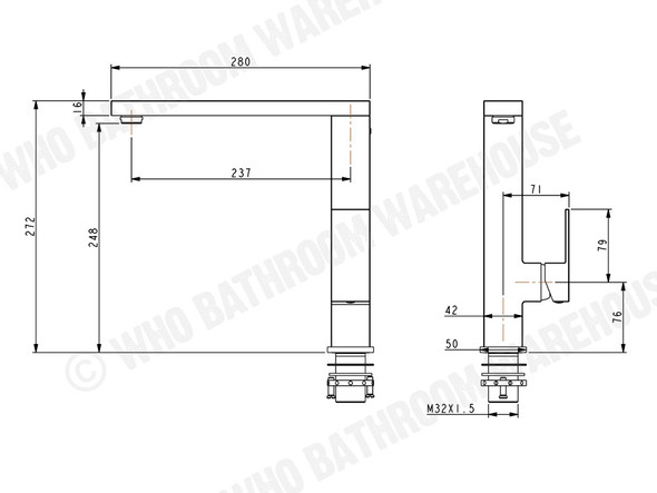 Damian SP Kitchen Mixer Tap (Matt Black) - 13406