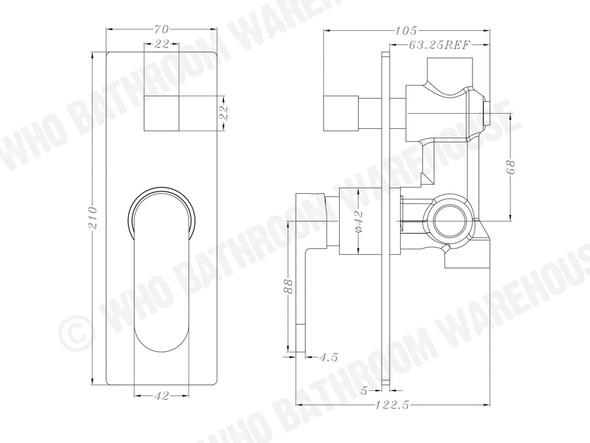 Ecco Diverter Wall Mixer Tap (Chrome) - 13234