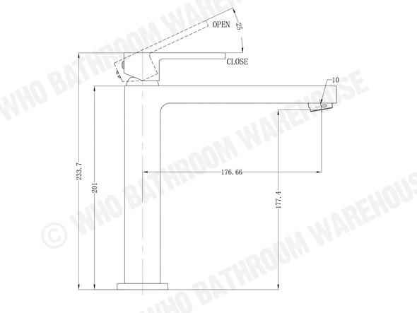 Ecco Tall Thin Basin Mixer Tap (Matt Black) - 13236