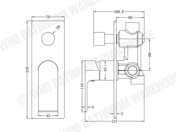 Vitra Diverter Wall Mixer Tap (Chrome) - 13332